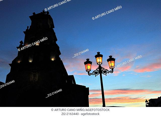 Parish church, XVIIIth century, belfry at sunset, Cangas de Onis, Asturias, Spain