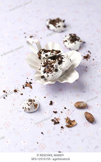 Meringues with chopped cocoa beans