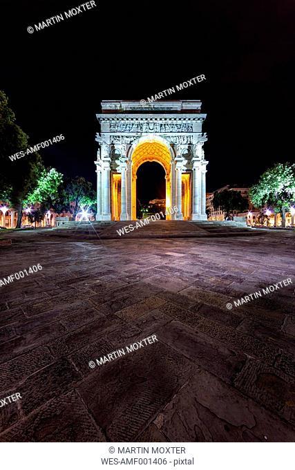 Italy, Genoa, Piazza della Vittoria, Arco della Vittoria at night