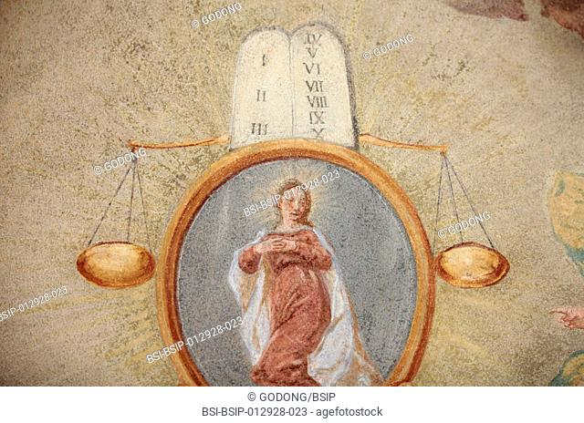 Loreto church fresco. Tables of the law, scales and Virgin Mary