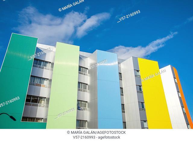 Colourful facade of a modern building. Ensanche de Vallecas, Madrid, Spain