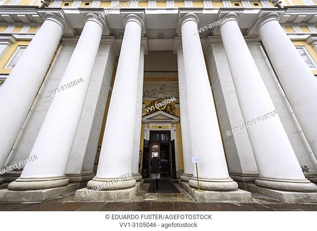 Columns facade of Trinity Cathedral of the Alexander Nevsky Lavra in Saint-Petersburg