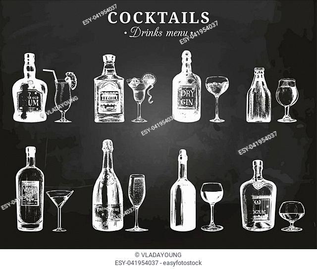 Hand sketched bottles and glasses of alcoholic beverages. Vector set of drinks and cocktails drawings. Restaurant, cafe, bar menu illustrations on chalkboard