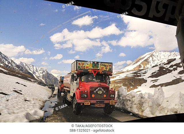 Leh - Manali highway pass 5328m in the mountain Taglang La is the 2nd highest pass in the world Many trucks pass through for transportation