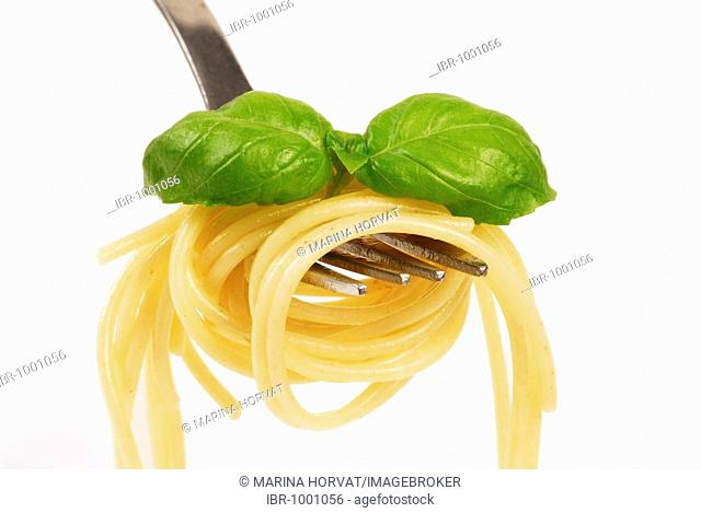 Spaghetti with basil leaves on a fork