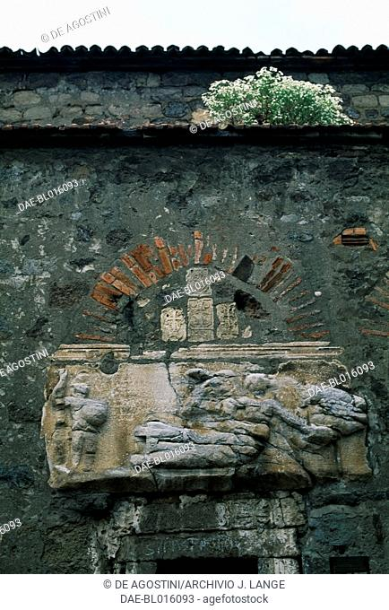 Bas-relief on the portal of the church of St Anne, Trabzon, Black Sea region, Turkey. Byzantine civilization, 9th century