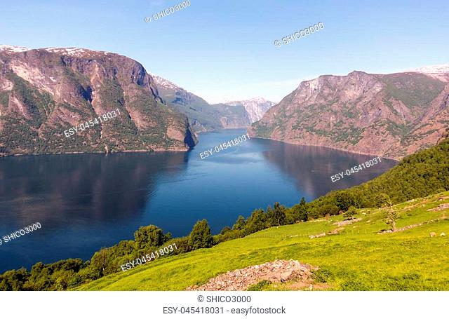 Stegastein Lookout Beautiful Nature Norway aerial view. Sognefjord or Sognefjorden
