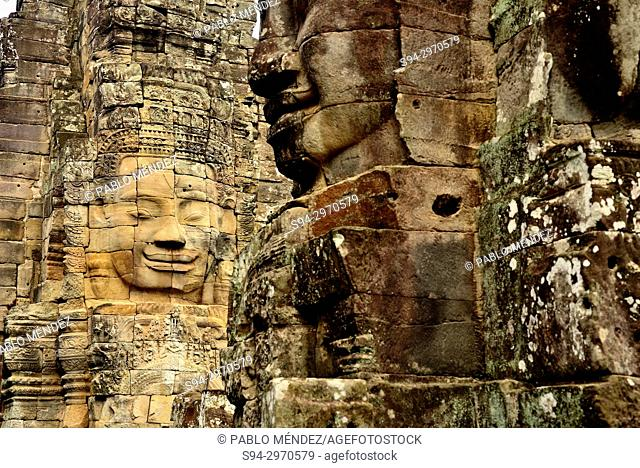 Stone faces of Bayon temple, Angkor Thom, Siem Reap, Cambodia