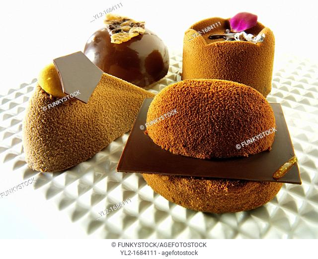 modern designed chocolate cakes with a sponge case and chocolate filling, covered with cocoa powder