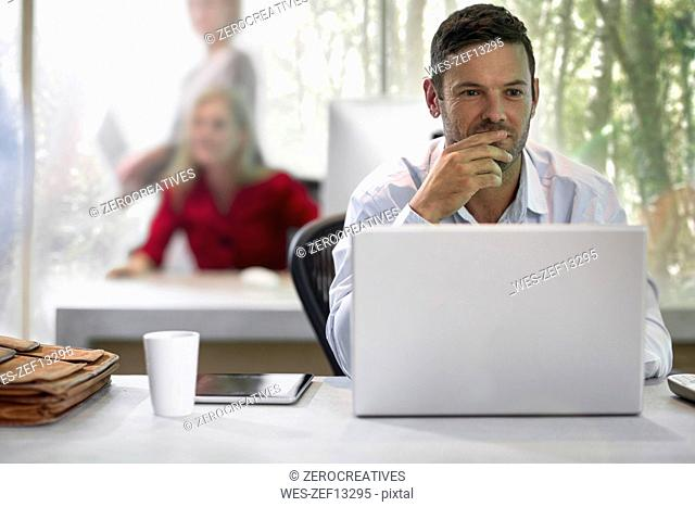 Young businessman sitting in office, using laptop