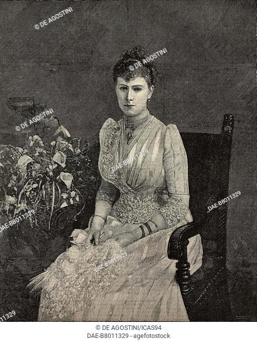 Portrait of Mary of Teck (1867-1953), Queen of the United Kingdom and the British Dominions, and Empress of India, engraving from The Illustrated London News