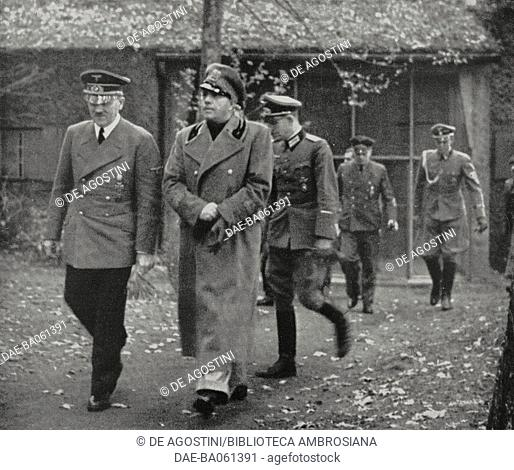 Adolf Hitler receiving Galeazzo Ciano at the German General Headquarters (Wolf's Lair), October 25, 1941, Poland, World War II, from L'Illustrazione Italiana