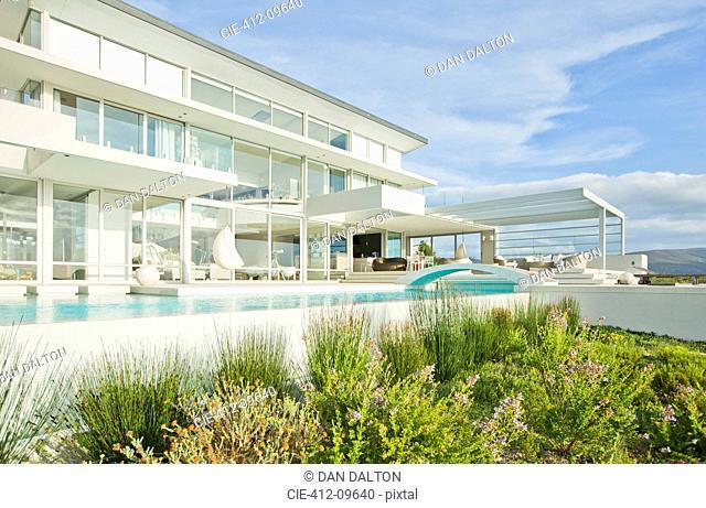 Swimming pool outside modern house