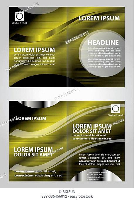 Vector empty bi-fold brochure print template design with dark green elements