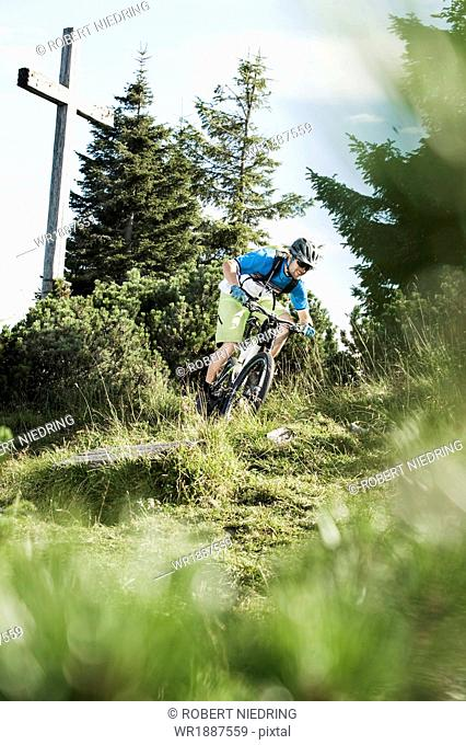Mountain biker riding downhill, Samerberg, Germany