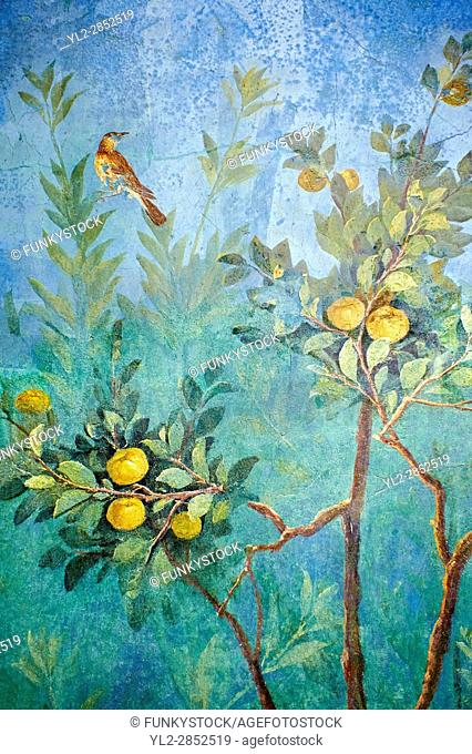 Painted Fruit Tress in the Roman fresco of a garden from Villa Livia (Early first century AD), Rome, Livia was the wife of Roman emperor Augustus
