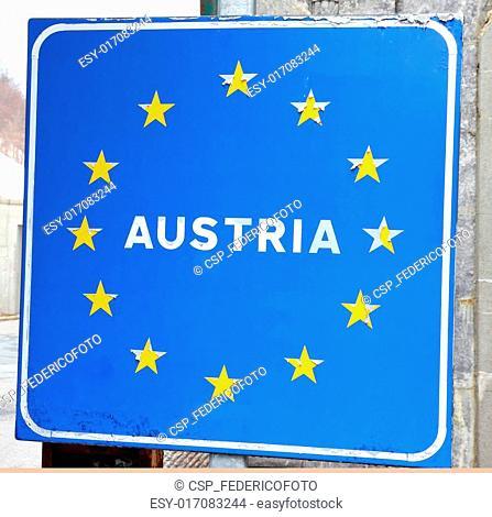 blue sign with yellow stars of European border Austria 1