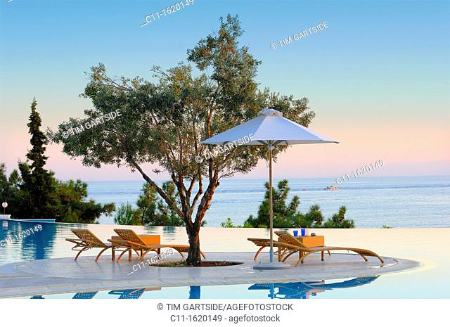 oceania club showing infinity swimming pool at sunset halkidiki macedonia central greece europe