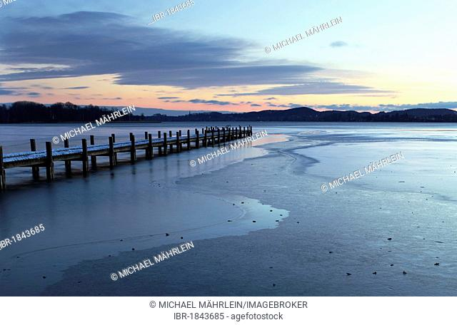 Jetty at sunrise on Lake Woerth in winter, Upper Bavaria, Bavaria, Germany, Europe