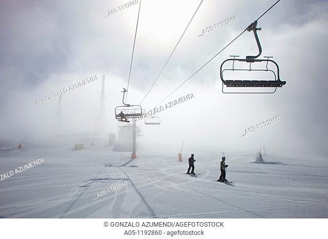 Orri peak.Telecommunications towers. Ski resort of Port Aine. Catalan Pyrenees. Rialp.  Pallars Sobira.  Lleida-provincia. Catalonia.Spain