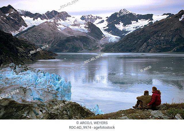 Tourists at Lamplugh Glacier Glacier Bay national park Alaska USA