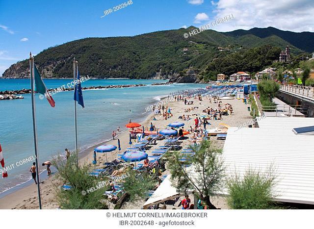 Beach of Moneglia, Genoa Province, Liguria, Italian Riviera or Riviera di Levante, Italy, Europe