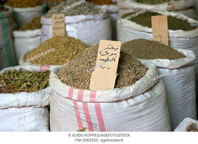 Down Town, Amman, Jordan, Middle-East. Herbs and spices are being sold in bulk from shops one alley behind main shops