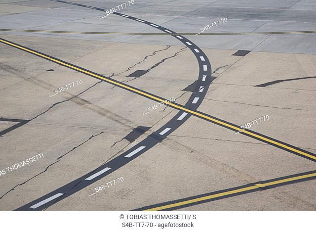 Markings on airport runway, Melbourne, Victoria, Australia