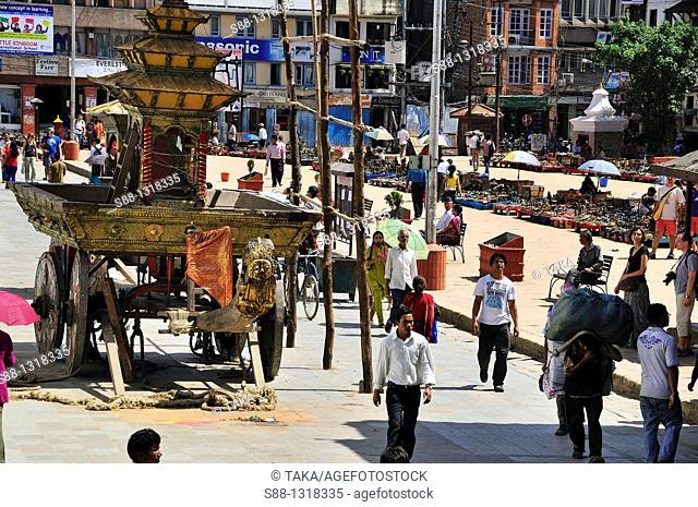 Chariot which Kumari get on parked at Basantapur Dabali Square, Kathmandu Nepal