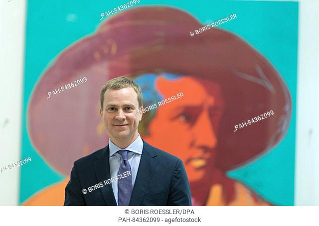 Philipp Demandt, the new director of the Staedel museum, standing in front of the painting 'Goethe' by US-American artist Andy Warhol (1928-1987) at the Staedel...