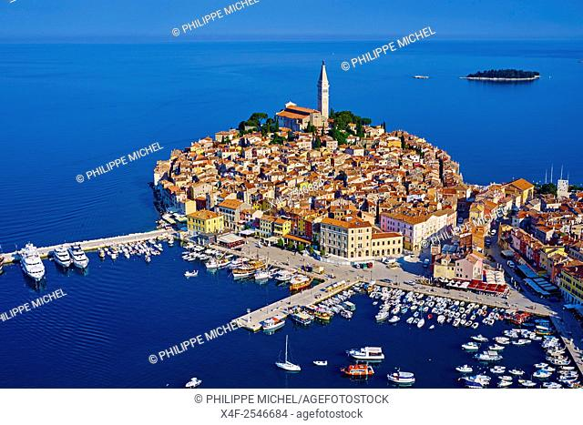 Croatia, Istria, old town of Rovinj, St Euphemy cathedral, aerial view