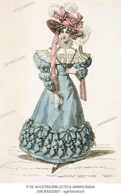 Woman wearing a blue walking dress and pink hat adorned with feathers and ribbons, plate 16, French Fashions, Il Corriere delle Dame, 1828