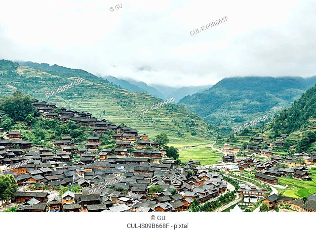 Mountain valley landscape and Xijiang village, Guizhou, China