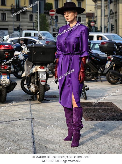 MILAN, Italy- September 19 2018: Caroline Vreeland on the street during the Milan Fashion Week