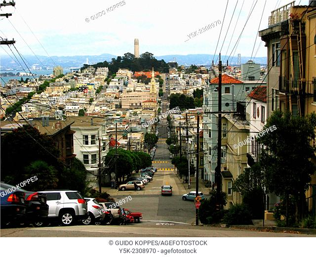 San Fransisco, United States. View on Colt Tower on Russian Hill from Greenwich Street