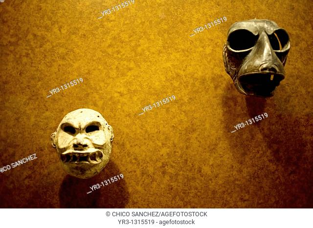 Masks are displayed at the Teotihuacan's gallery in the National Museum of Anthropology in Mexico City, January 1, 2011  The National Museum of Anthropology and...