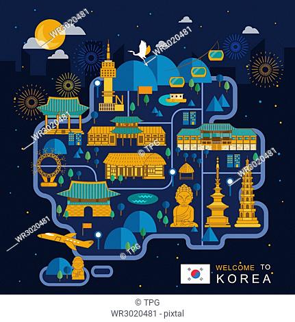 fantastic South Korea night travel map design in flat style