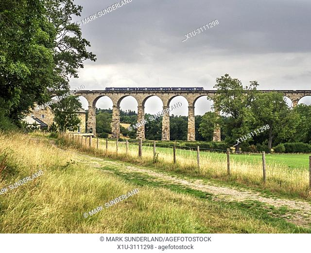 Class 170 Northern train crossing the Crimple Valley Viaduct near Pannal Harrogate North Yorkshire England