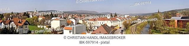 View over the town of Berndorf with the Margareten Church and the Triesting River, Lower Austria, Austria, Europe