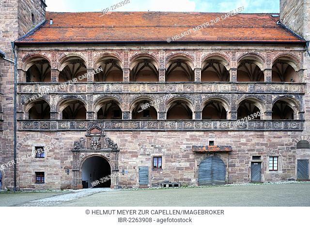 Detail view of Schoener Hof, beautiful courtyard, built 1564-1569 by Caspar Vischer, arcades with two-dimensional or planar Renaissance ornaments and...