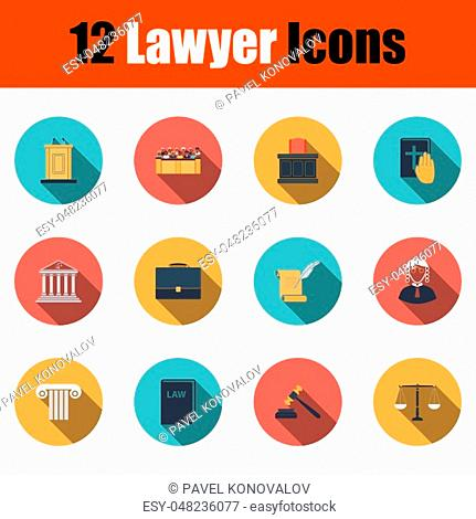 Lawyer Icon Set. Flat Design With Long Shadow. Vector illustration