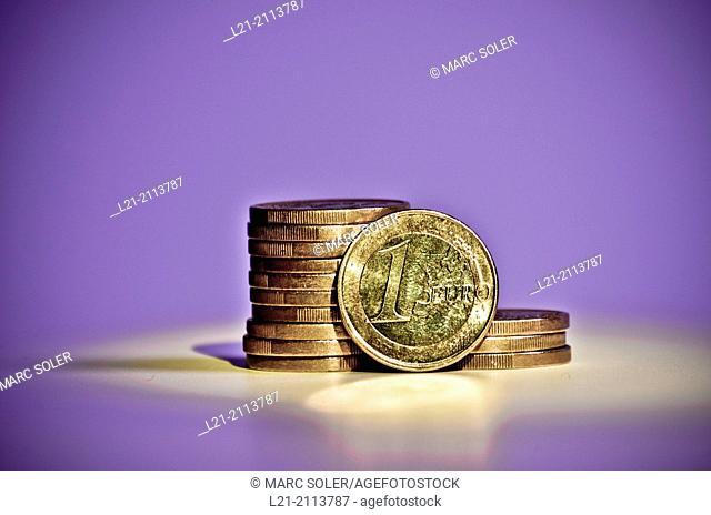 Piles of euro coins