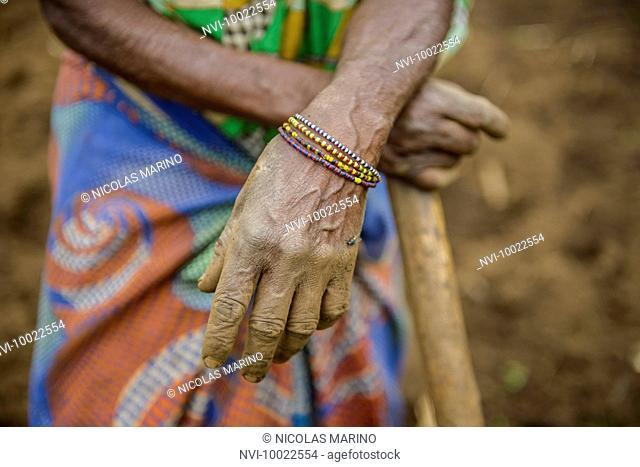 Female farmer, hands, Uganda, Africa