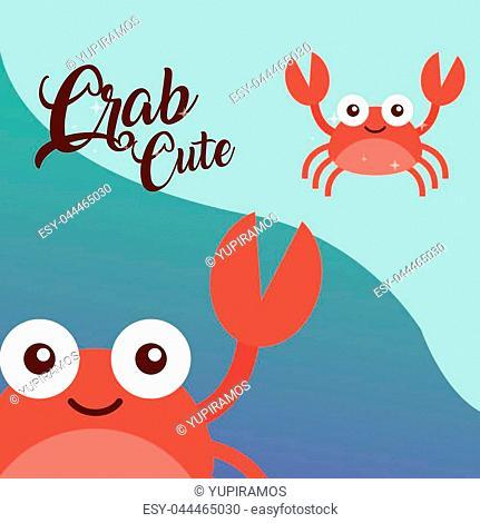 cute crabs sea life animals nature vector illustration