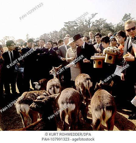 Federal President Heinrich Lubke (M, with hat) and his wife Wilhelmine (l, bright costume) in the park of Nara in the wild feed. | usage worldwide