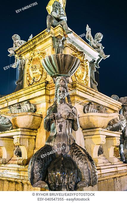 Batumi, Adjara, Georgia. Decorative Details Of Neptune Fountain In Park On Rustaveli Ave. Famous Landmark In Night Illuminations Lights