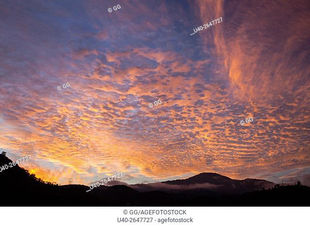 Guatemala, Antigua, Sunrise sky and clouds