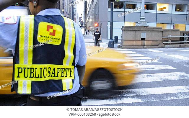 New York City, Public Safety patrol man stands near Pershing Square bridge, Grand Central Terminal