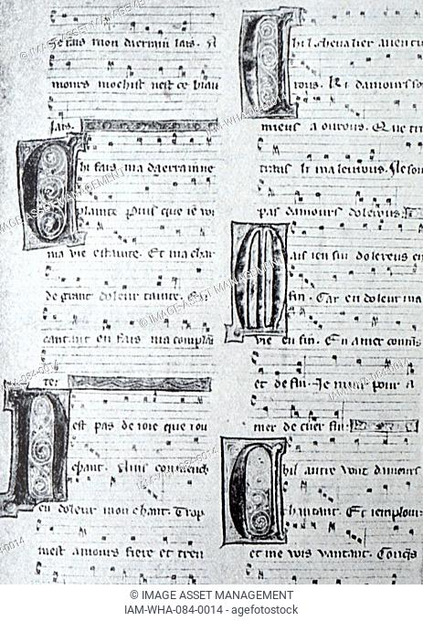 Copy of the work of a 15th Century Troubadour. A troubadour was a composer and performer of Old Occitan lyric poetry during the High Middle Ages Dated 15th...
