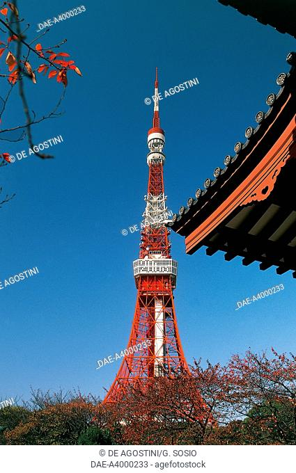 View of Tokyo tower from Shiba Park, 1958, Tokyo, Japan